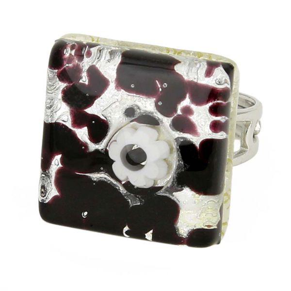 Venetian Reflections Square Adjustable Ring - Dark Purple Silver