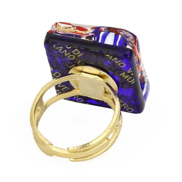 Venetian Reflections Square Adjustable Ring - Golden Meadow