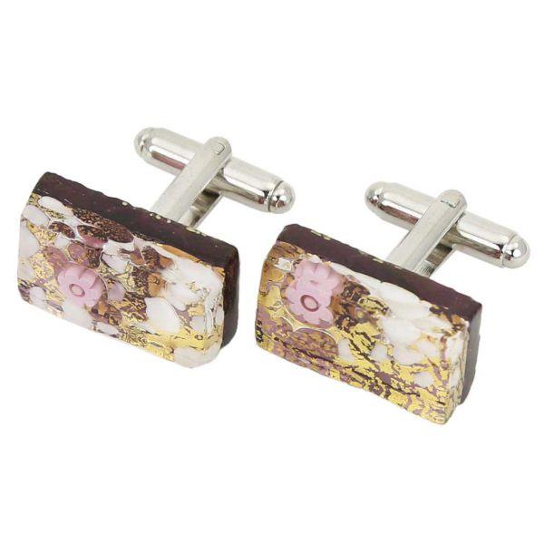 Venetian Classic Rectangular Cufflinks - Purple Gold