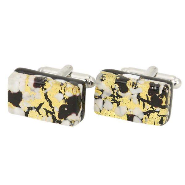 Venetian Classic Rectangular Cufflinks - Black Gold