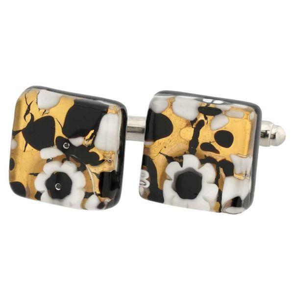 Venetian Classic Square Cufflinks - Black Gold