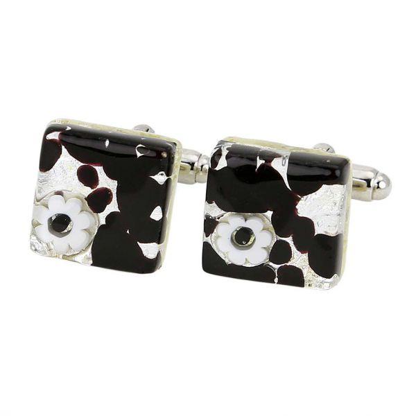Venetian Classic Square Cufflinks - Dark Purple Silver