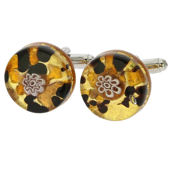 Venetian Classic Round Cufflinks - Topaz Gold