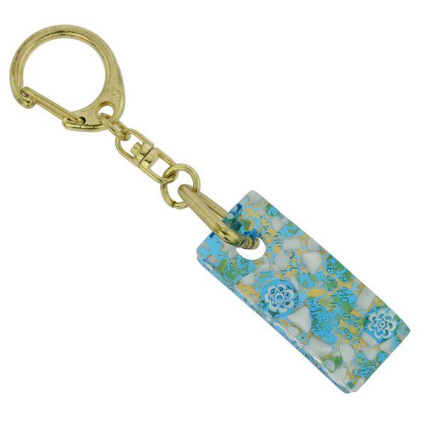Murano Colors Stick Keychain - Aqua Gold