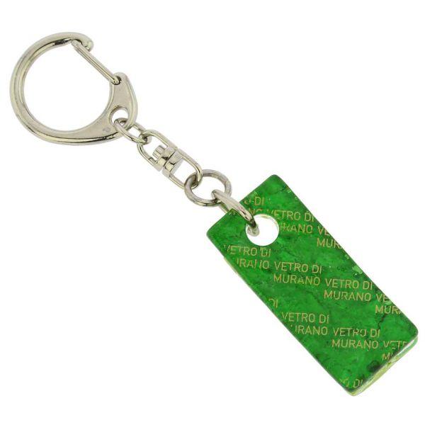 Murano Colors Stick Keychain - Green Silver