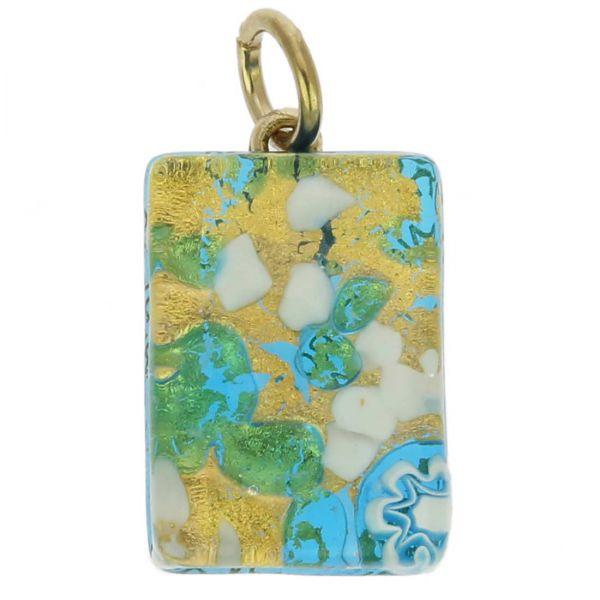 Venetian Reflections Rectangular Pendant - Aqua Gold