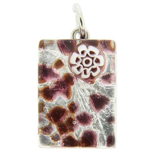 Venetian Reflections Rectangular Pendant - Purple Silver
