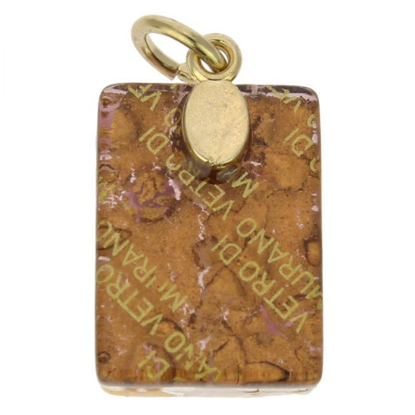 Venetian Reflections Rectangular Pendant - Purple Gold