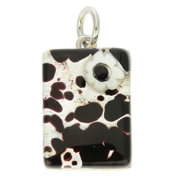 Venetian Reflections Rectangular Pendant - Dark Purple Silver