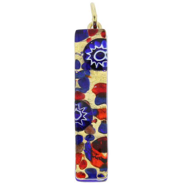 Venetian Reflections Stick Pendant - Blue Red