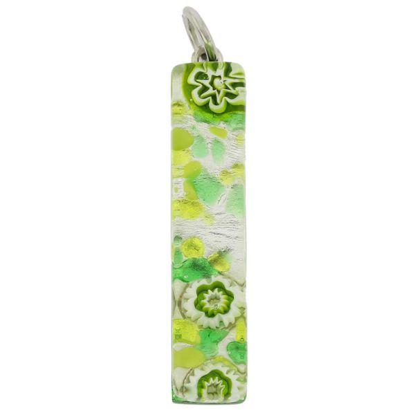 Venetian Reflections Stick Pendant - Green Silver