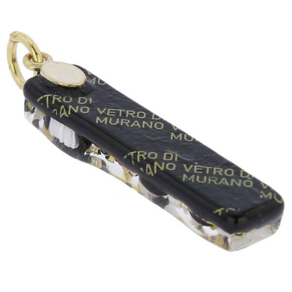 Venetian Reflections Stick Pendant - Black Gold