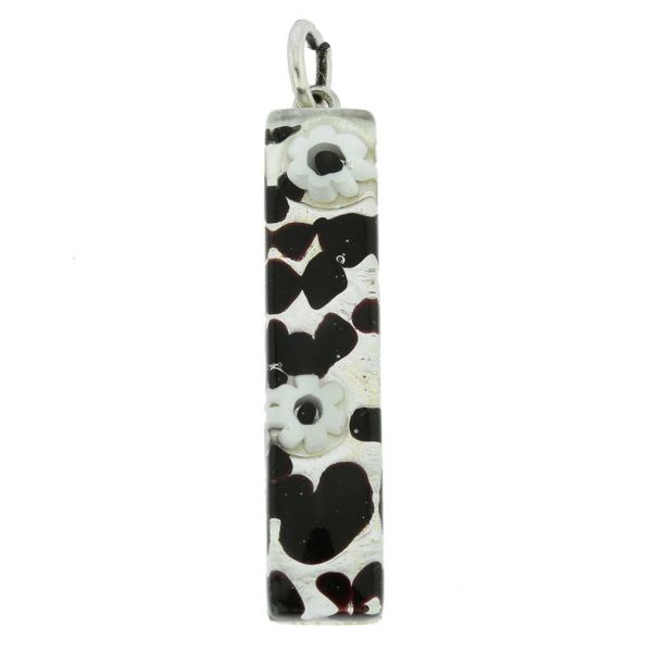 Venetian Reflections Stick Pendant - Dark Purple Silver