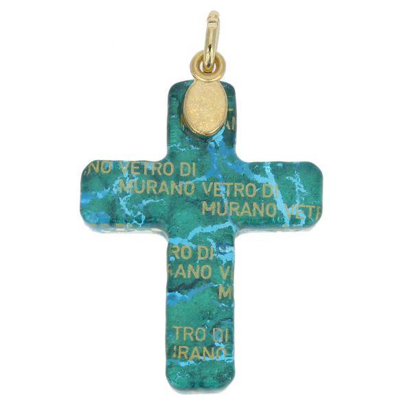 Venetian Reflections Cross Pendant - Aqua Gold