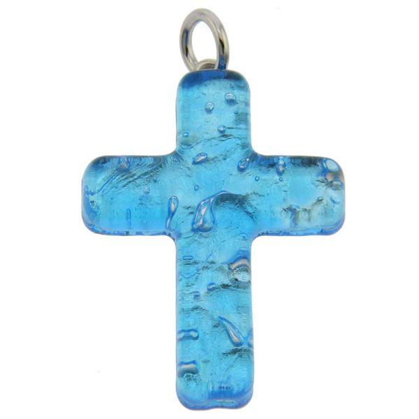 Venetian Reflections Cross Pendant - Aqua Silver