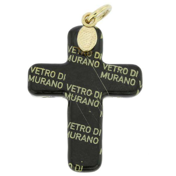 Venetian Reflections Cross Pendant - Black Gold