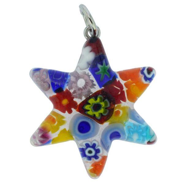 Murano Glass Millefiori Star Of David Pendant - Multicolor