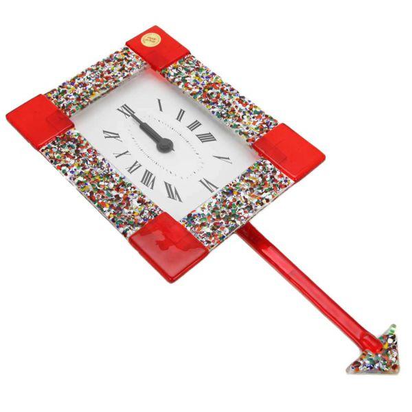 Murano Glass Wall Clock - Klimt Red