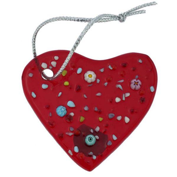 Murano Glass Heart Christmas Ornament - Red