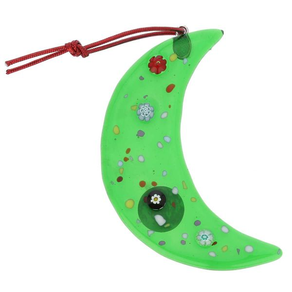 Murano Glass Moon Christmas Ornament - Green