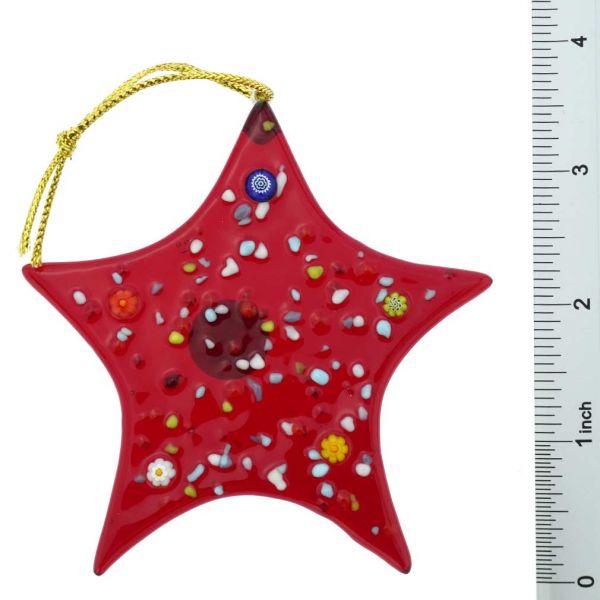 Murano Glass Star Christmas Ornament - Red