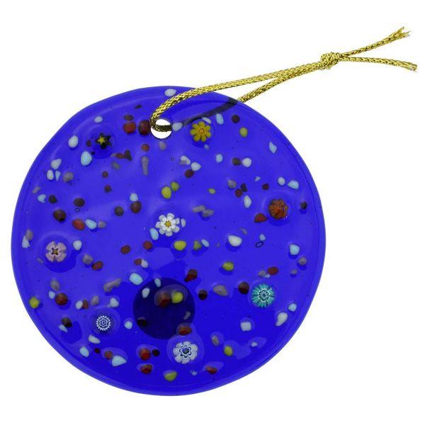 Murano Glass Circle Christmas Ornament - Blue