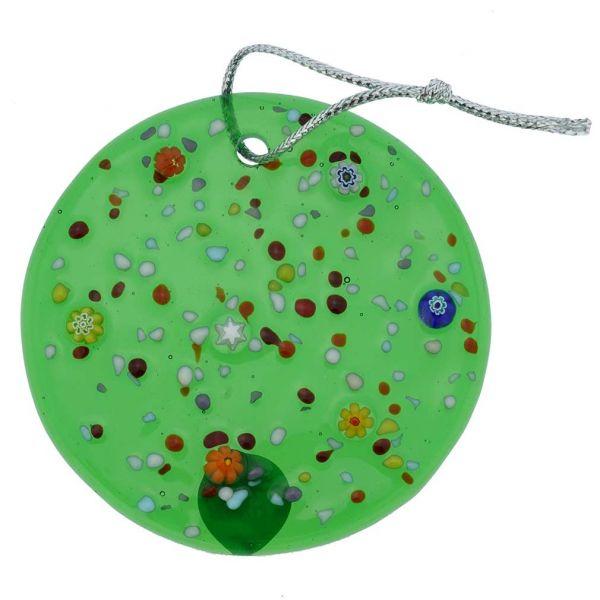 Murano Glass Circle Christmas Ornament - Green
