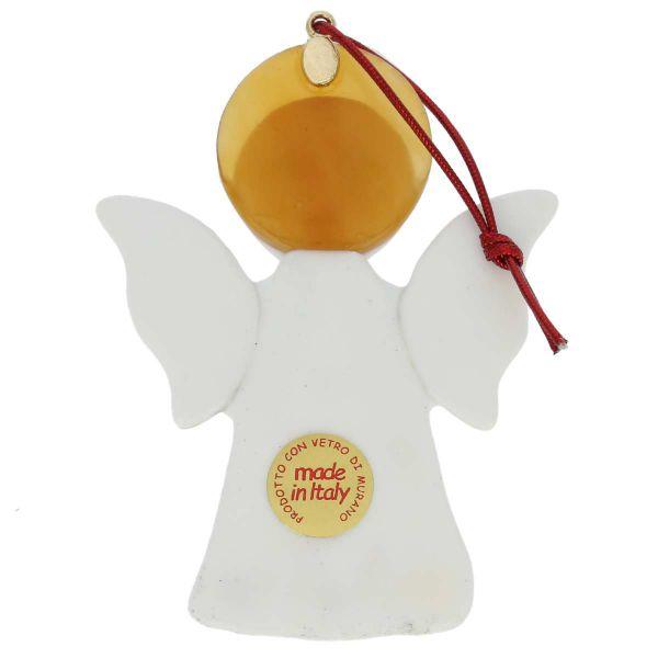 Murano Glass Angel Christmas Ornament - White