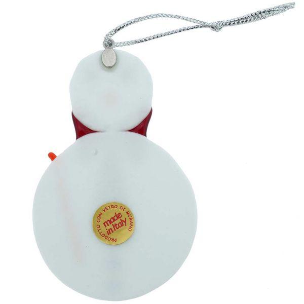 Murano Glass Snowman Christmas Ornament - Red