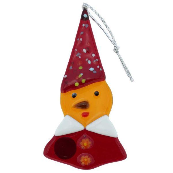 Murano Glass Elf Christmas Ornament - Yellow
