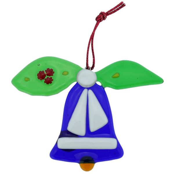 Murano Glass Bell Christmas Ornament - Blue