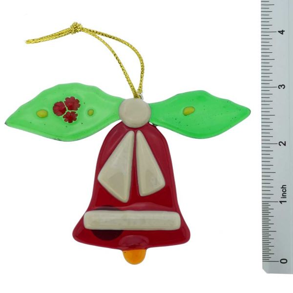 Murano Glass Bell Christmas Ornament - Red