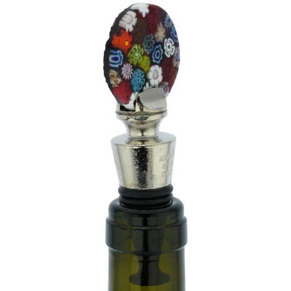 Murano Glass Millefiori Round Bottle Stopper