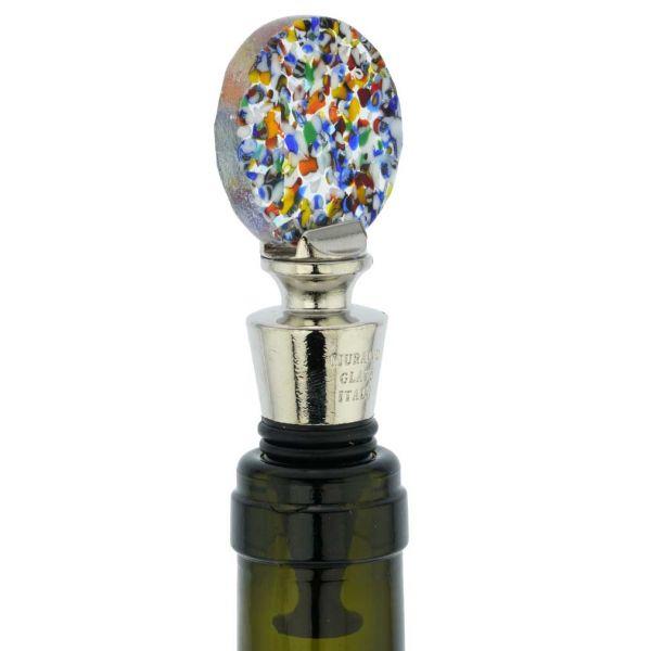 Murano Glass Multicolor Round Bottle Stopper