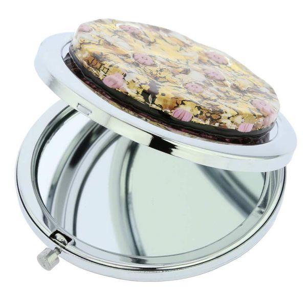 Murano Millefiori Folding Compact Mirror - Purple Gold