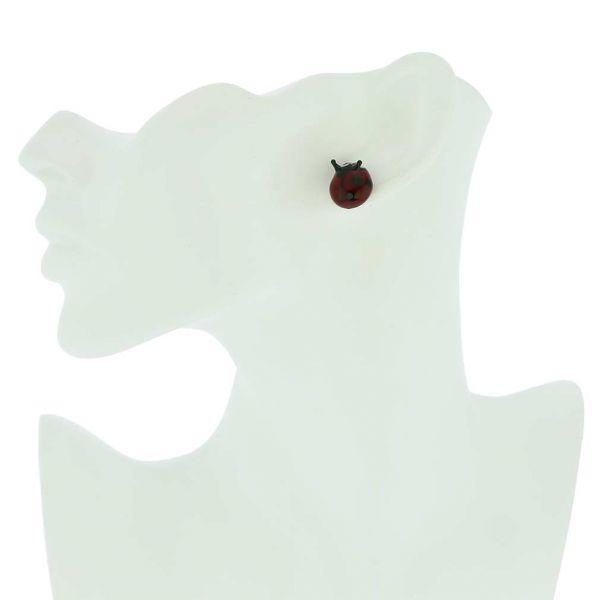 Murano Glass Ladybug Stud Earrings