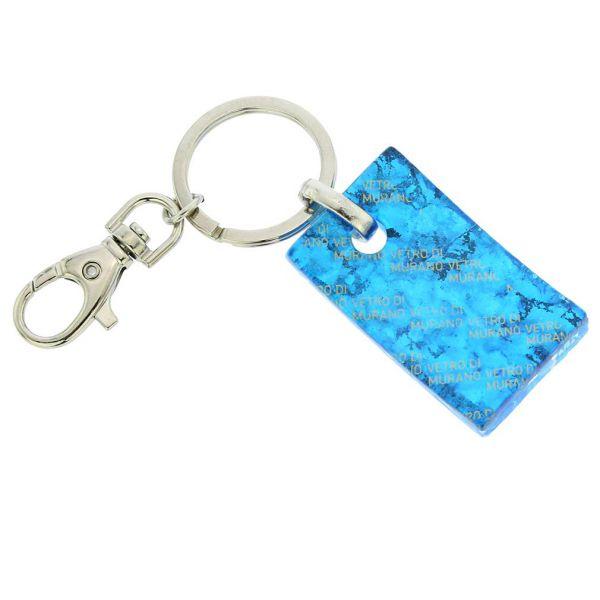 Murano Colors Rectangular Keychain - Aqua Silver
