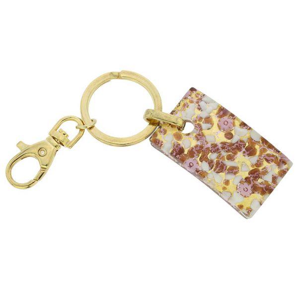 Murano Colors Rectangular Keychain - Purple Gold