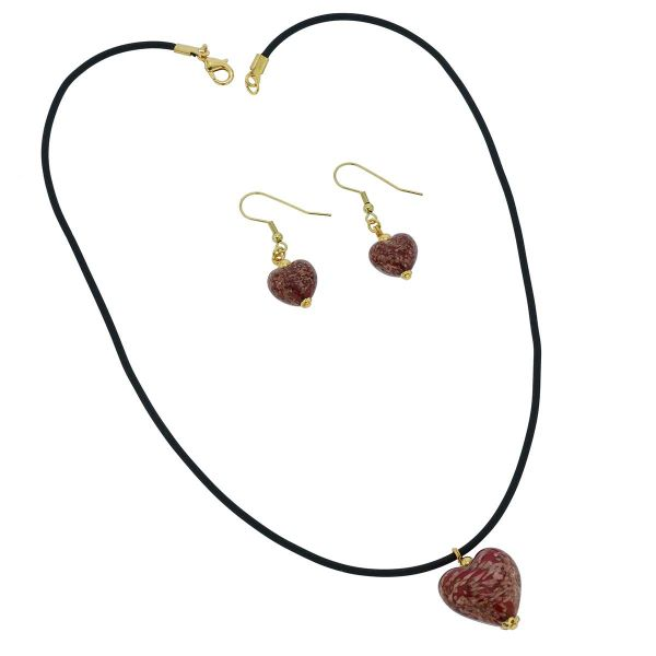 Murano Glass Puffed Heart Necklace and Earrings Set - Sparkling Red