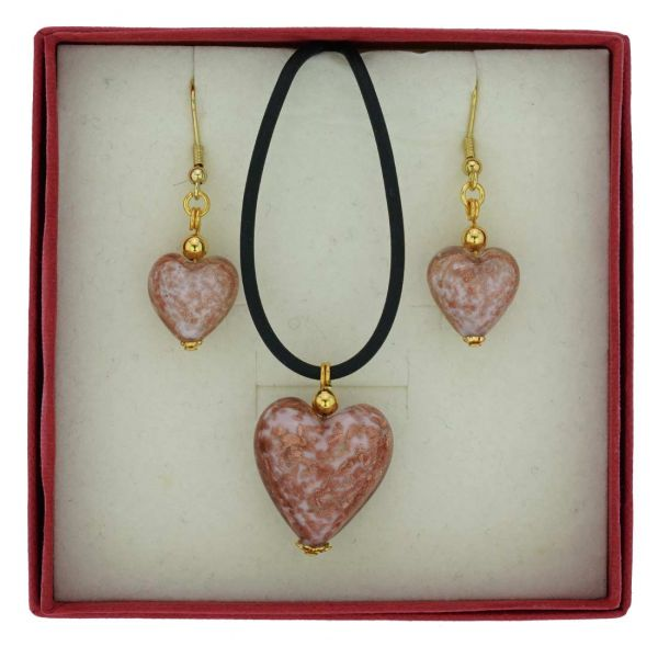Murano Glass Puffed Heart Necklace and Earrings Set - Sparkling Pink