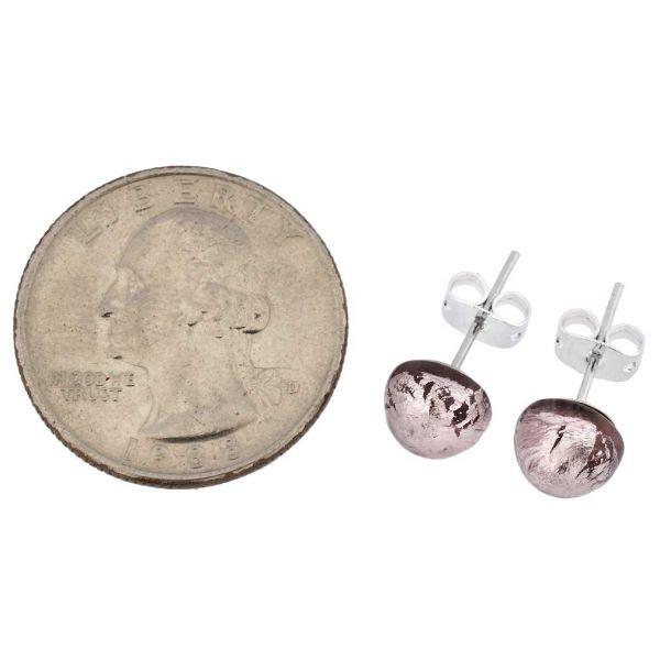 Murano Ball Stud Earrings - Purple
