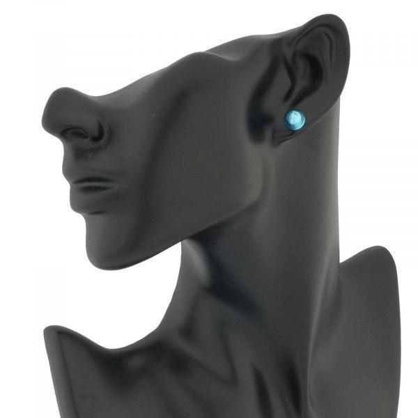 Murano Ball Stud Earrings - Light Blue