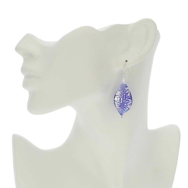 Silver Rain Murano Leaf Earrings - Blue
