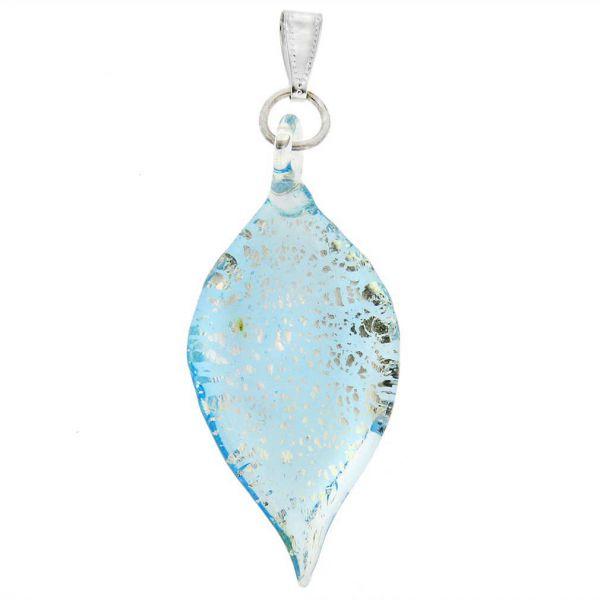 Silver Rain Murano Leaf Pendant - Aqua