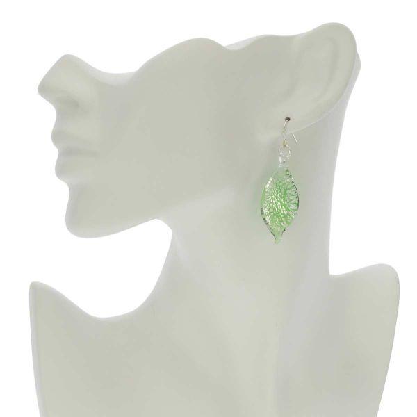 Silver Rain Murano Leaf Earrings - Green
