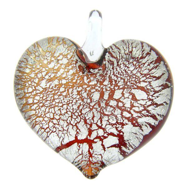 Silver Rain Heart Pendant - Red