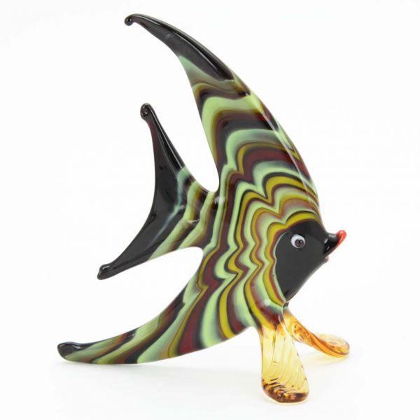 Festooned Glass Half-Moon-Shaped Fish