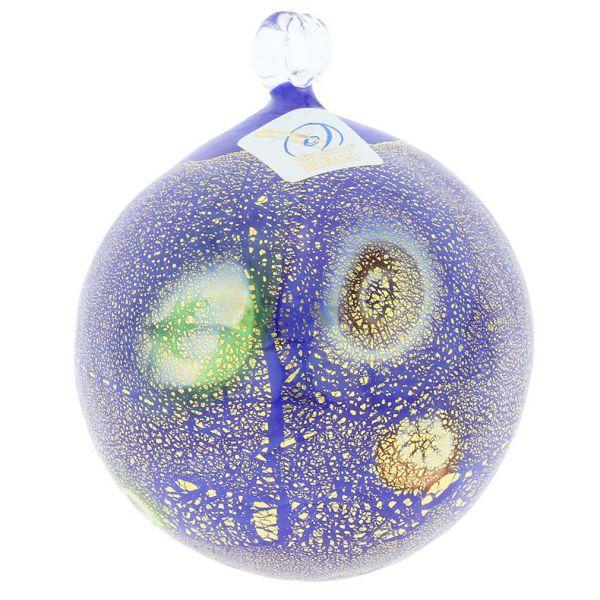 Murano Glass Medium Millefiori Christmas Ornament - Blue Gold