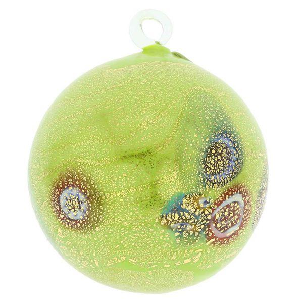 Murano Glass Medium Millefiori Christmas Ornament - Green Gold