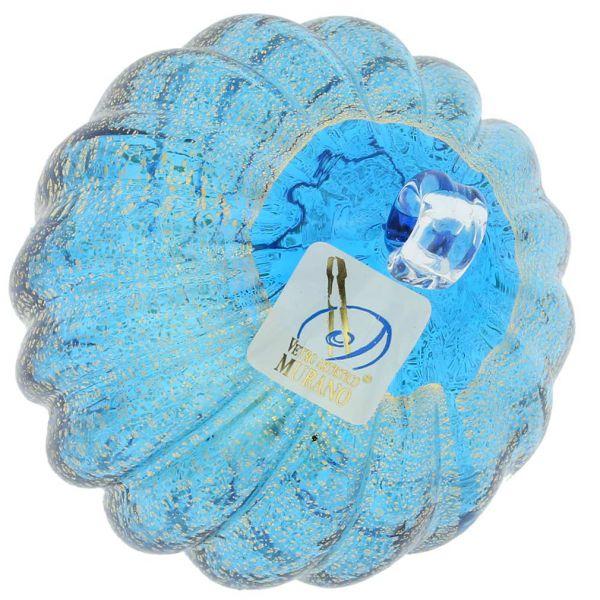 Murano Glass Medium Christmas Ornament - Aqua Blue